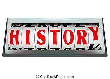 היסטוריה, מילה, ב, odomoter, חייג, חסום, מראה, מעבר של זמן