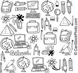 הספקות, בית ספר, doodles, אוסף, אחסן