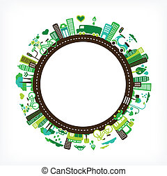 הסתובב, עם, ירוק, עיר, -, סביבה, ו, אקולוגיה