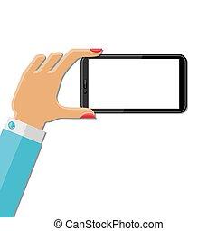 העבר, smartphone, להחזיק, אישה