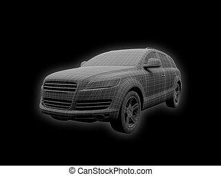 הפרד, מכונית, חוט, השקפה של חזית