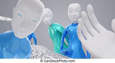 הצבע, רפואי, רובוטים, מיטה, רובוט, ציוד, 3d-illustration, טכנולוגי, הבט., care., הבט
