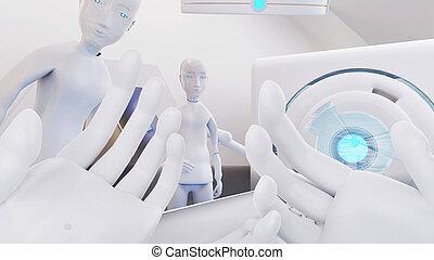 הצבע, face., טכנולוגי, רובוט, מיטה, ציוד, 3d-illustration, ידיים, חזית, הבט.