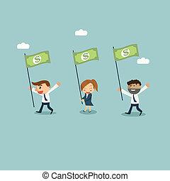 הראה, כסף, דגלל, דרך, קונצפטואלי, איש עסקים