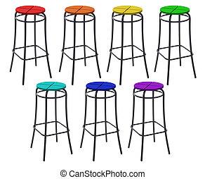 הרבה, חסום, כסאות, ב, צבעים, של, קשת, קולז'