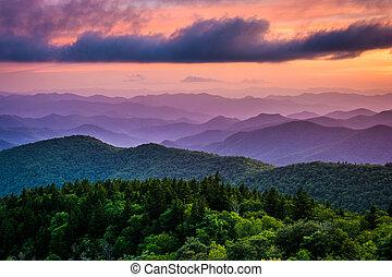 הרים כחולים, רכס, דלג, שקיעה, כביש מהיר, cowee