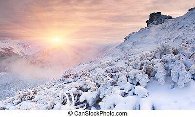 הרים, עלית שמש, חורף, צבעוני