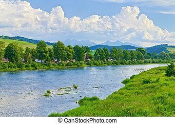 הרים, קפוץ, מעל, dunajec, river., tatra, נוף