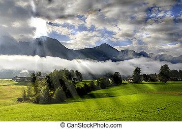 הרי האלפים, בוקר