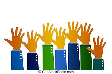 הרם, מושג, קבץ, ידיים, ידיים, התנדב
