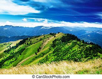 הר, דרמטי, גבעות, שמיים, נוף