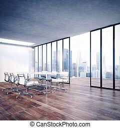 השבה, לבן, interior., משרד, 3d