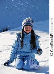 השלג, ילדה, לשבת
