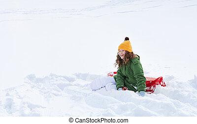 השלג, ילדה, sleigh, לשבת