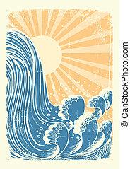 השקה, גראנג, כחול, waterfall., רקע, שמש, גלים, וקטור
