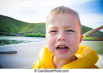 השקה, טייל, ילדים, סירה