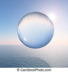 השקה, כדור, מעל, ים