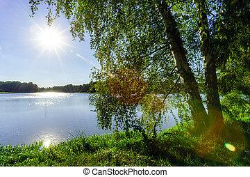 השקה, שמש, מעל, אגם של השתקפות