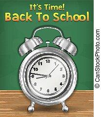 השקע, בית ספר, זמן, שעון של אזעקה