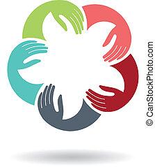 התאחדות, לוגו, ידיים