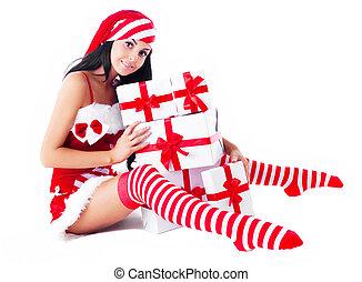 התלבש, אישה, סנטה