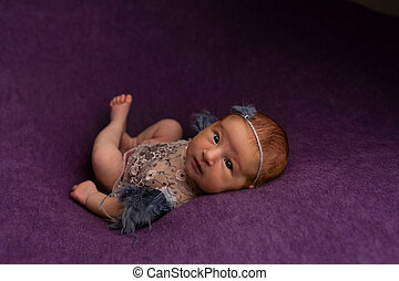 התלבש, ראשון, תומכים, מושב, צילום, ילדה, ורוד, תינוק, טקסטיל, רקע., headband., יילוד, רעיונות, יפה