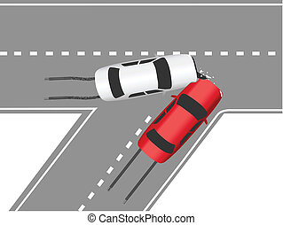 התנגשות, מכונית, תנועה, דרך, מכוניות