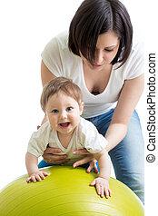 התעמלות, כדור, כושר גופני, תינוק, אמא
