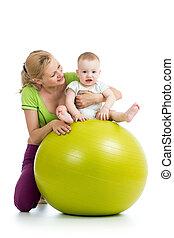 התעמלות, תינוק, כדור של כושר הגופני