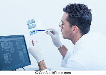 התרכז, זכר, רופא שניים, להסתכל ברנטגן