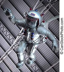 ה, אסטרונאוט, מתחת, גג
