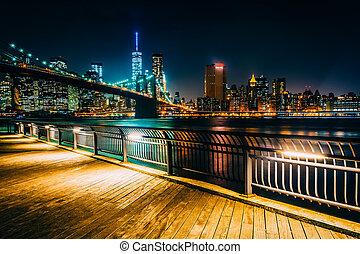 ה, גשר של ברוקלין, ו, קו רקיע של מנהאטן, בלילה, ראה, מ, אח