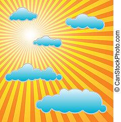 ה, חם, קיץ, שמש, עם, כחול, עננים