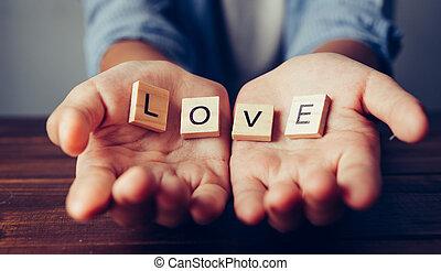 """ה, מילה, """"love"""", ב, ידיים, ב, חפון, עצב., מושגים, של, לחלק, לתת"""