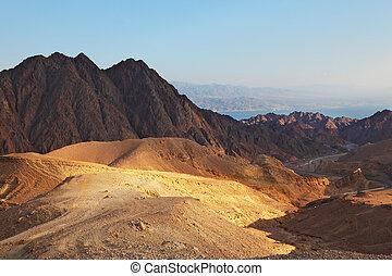 ה, סיני, desert., עלית שמש, מעל, ים סוף