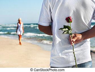 ה, רומנטי, תארך, מושג, -, איש, עם, עלה, לחכות, שלו, אישה