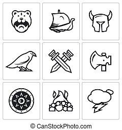 ויקינג, קבע, לוחם, שלח, הגנה, icons., נשק, לחם, וקטור, תחמושת, אלוהים, weather., קבורה