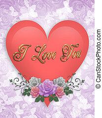 ולנטיין, ורוד, לב, ו, ורדים