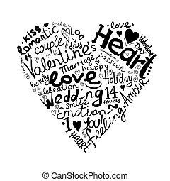 ולנטיין, לב, רשום, ל, שלך, עצב