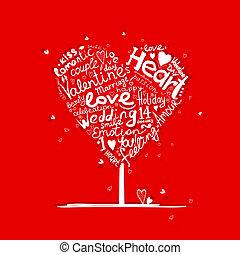 ולנטיין, עץ, צורה של לב, ל, שלך, עצב