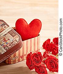 ולנטיינים, day., אהוב, לב אדום, של עבודת-יד, ב, קופסה של מתנה, ו, ורדים