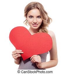 ולנטיינים, day., אישה מחזיקה, יום של ולנטיינים, לב, חתום, עם, העתק רווח