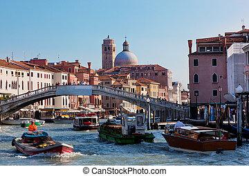 ונציה, italy., a, גשור, מעל, תעלה גדולה