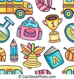 וקטור, בית ספר, תבנית, צבעוני, seamless