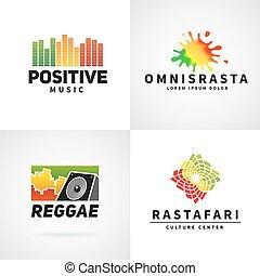 וקטור, ג'מאיקה, מושג, צבעוני, רייגיי, רקוד, חיובי, חברה, אפריקה, ephiopia, דגלל, קבע, רמקול, לוגו, מוסיקה, template., design.