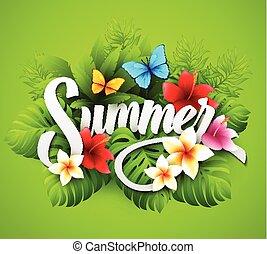 וקטור, דוגמה, עם, טרופי, צמחים, ו, פרחים