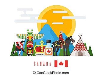 וקטור, דירה, סיגנון, קבע, קנדי, לאומי, תרבותי, symbols.