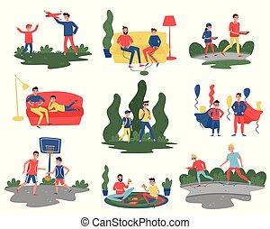 וקטור, דירה, שונה, קבע, ילדים, לשלם, אבות, actions., שלהם, תימה, ילדים, אבהות, זמן, בית, outdoor., אבאים