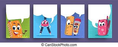 וקטור, הספקות, ילדים, חמוד, poster., חינוכי, בית ספר, מצחיק, mascots., בעבע, קבע, דגלים, ציור היתולי, אותיות, נאום