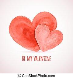 וקטור, וואטארכולור, לבבות, ל, יום של ולנטיין, כרטיסים, מעצב